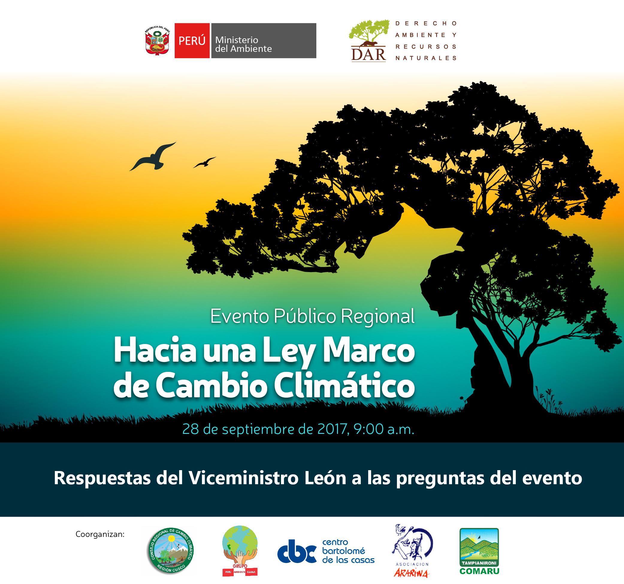Respuestas del Viceministro León (MINAM) en Cusco sobre la Ley Marco ...